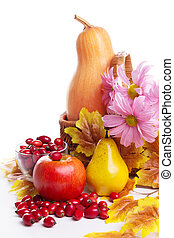 Autumn fruits and vegetables in basket