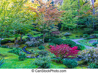 Autumn Garden And Stream 2