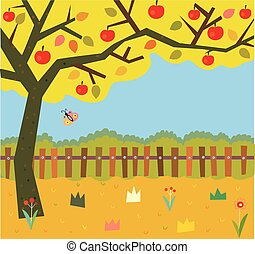 Autumn garden background with apple tree
