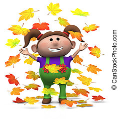 autumn girl - cartoon girl playing with autumn leaves - 3d...