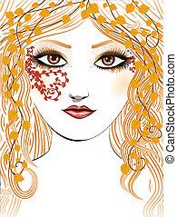 Autumn girl face