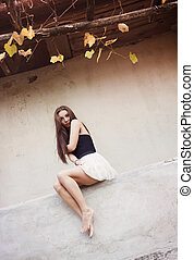 Autumn girl - Outdoor portrait of beautiful girl posing by...