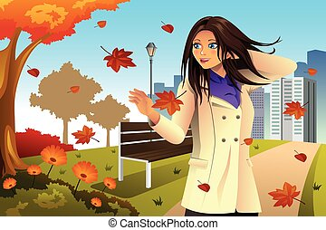 Autumn Girl Walking in the Park