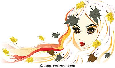 Autumn Girl with White Hair