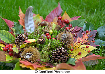 Autumn glass bowl on the meadow