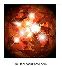 Autumn golden leafs background