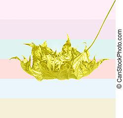 Autumn golden maple leaf on colorful pastel background. Minimal creative concept.