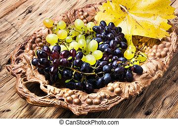 autumn grapes on tray