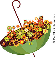 autumn green umbrella full of flowers. vector illustration...