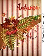 Autumn greeting banner, vector illustration
