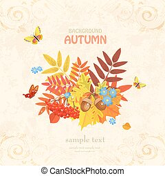 Autumn greeting card with colorful fall leaves and butterflies o