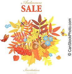 Autumn greeting card with lovely leaves and butterflies for your