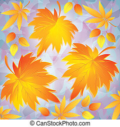 Autumn grunge background with yellow leaves - place for text