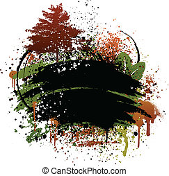 Autumn grunge design - Black, brown, and green autumn fall ...