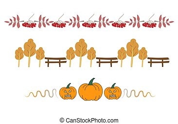 Autumn halloween border bars with pumpkins and berries