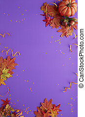 Autumn halloween decoration purple background