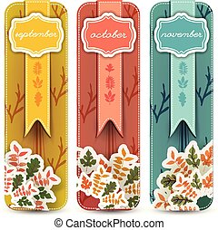 Autumn Hand Drawn Banners Set