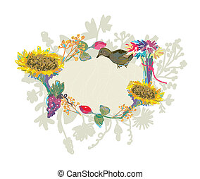 Autumn hand-drawn frame with flowers and bird