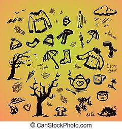 Autumn hand drawn  set,