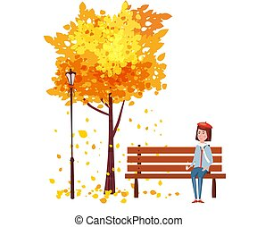 Autumn, happy girl sitting on a bench with a cup of coffee, under a tree with falling leaves in a park, vector, illustration, isolated