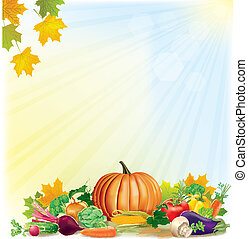 Autumn harvest background. Contains transparent objects....