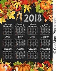 Autumn harvest calendar chalkboard template design