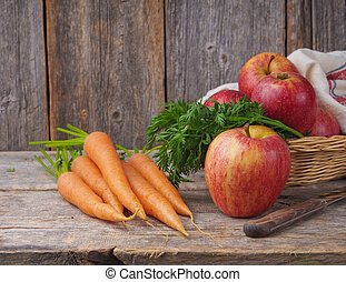 autumn harvest carrots and apples