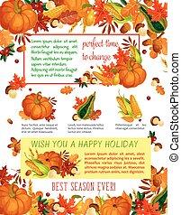 Autumn harvest celebration, Thanksgiving poster