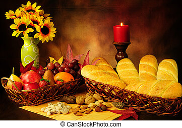 Autumn harvest - Dramatic still life of beautifully ...