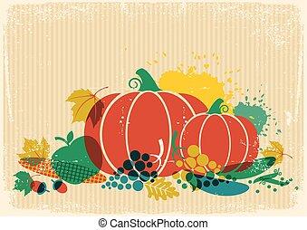 Autumn harvest festival illustration. Thanksgiving autumn old paper poster