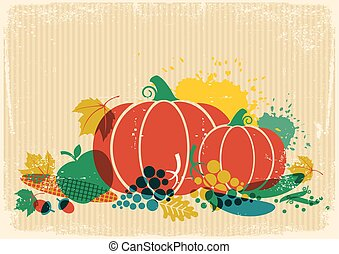 Autumn harvest festival illustration.Thanksgiving autumn old paper poster