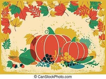 Autumn harvest festival vintage illustration. Thanksgiving autumn old paper poster