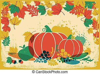 Autumn harvest festival vintage illustration.Thanksgiving autumn old paper poster