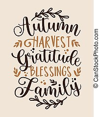 Autumn Harvest Gratitude Blessings Family - Handwritten greeting for Thanksgiving.