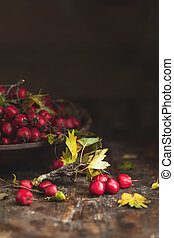 Autumn harvest Hawthorn berry with leaves in bowl on a...