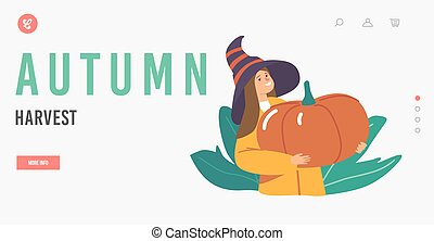Autumn Harvest Landing Page Template. Happy Girl Character in Witch Hat Picking Pumpkins at Garden. Child Holding Plant
