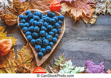 Autumn harvest of blue thorns on a wooden plate in the shape of a heart. Autumn background. Copy space