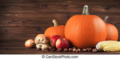Autumn harvest on wooden table - Autumn harvest still life...