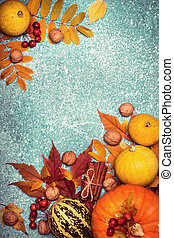 Autumn harvest pumpkin Thanksgiving frame on a Blue background
