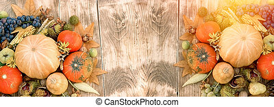 Autumn harvest, seasonal fruit and vegetable on rustic wooden table