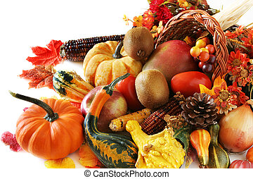 Autumn Harvest - Cornucopia filled with fruits and...