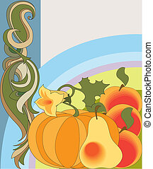Vintage image of a set of beautiful fruits and vegetables on a decorative background