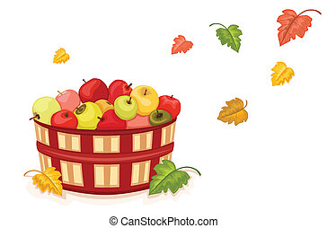Autumn harvest with wicker basket filled with tasty apples. Isolated over white background. Vector file saved as EPS AI8, no gradients, easy printing.