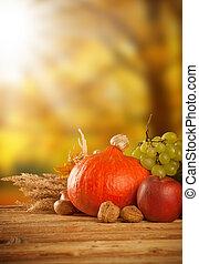 Autumn harvested fruit and vegetable on wood - Autumn ...