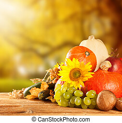 Autumn harvested fruit and vegetable on wood - Autumn ...