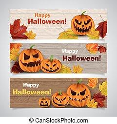 autumn headers - Set of vector Halloween headers with leaves...