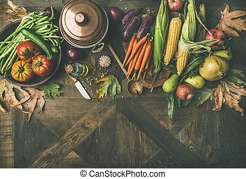 Autumn healthy ingredients for Thanksgiving day dinner, copy...