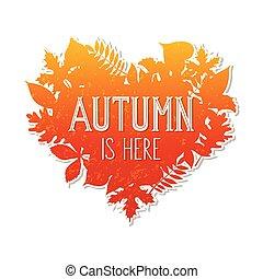 Autumn heart shaped frame