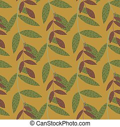 Autumn herbal pattern with green and purple branches on ...