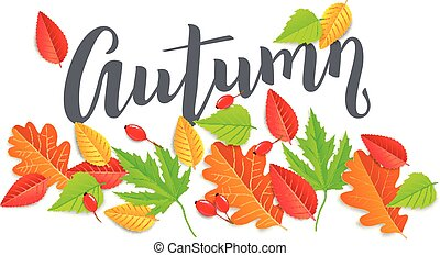 Autumn horizontal banner with leaves
